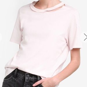 Pastel Pink Choker Neck Slash Tee